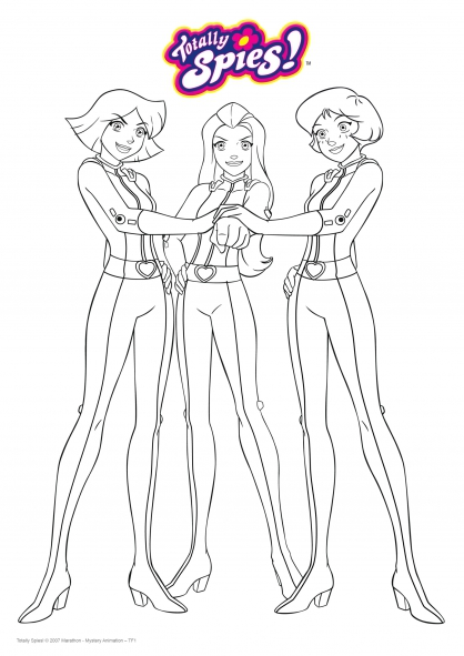 Coloriage le trio de choc coloriage totally spies coloriage dessins animes - Dessin anime de totally spies ...