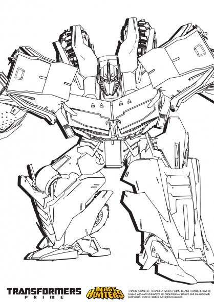 Coloriage transformers prime beast hunters optimus prime 2 coloriage transformers - Dessin optimus prime ...