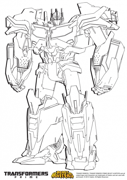 Coloriage transformers prime beast hunters optimus prime coloriage transformers coloriage - Dessin optimus prime ...