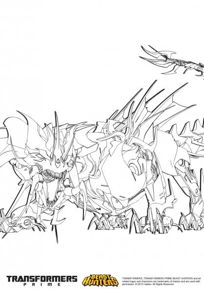Coloriage Transformers prime Beast Hunters : Predaking 3