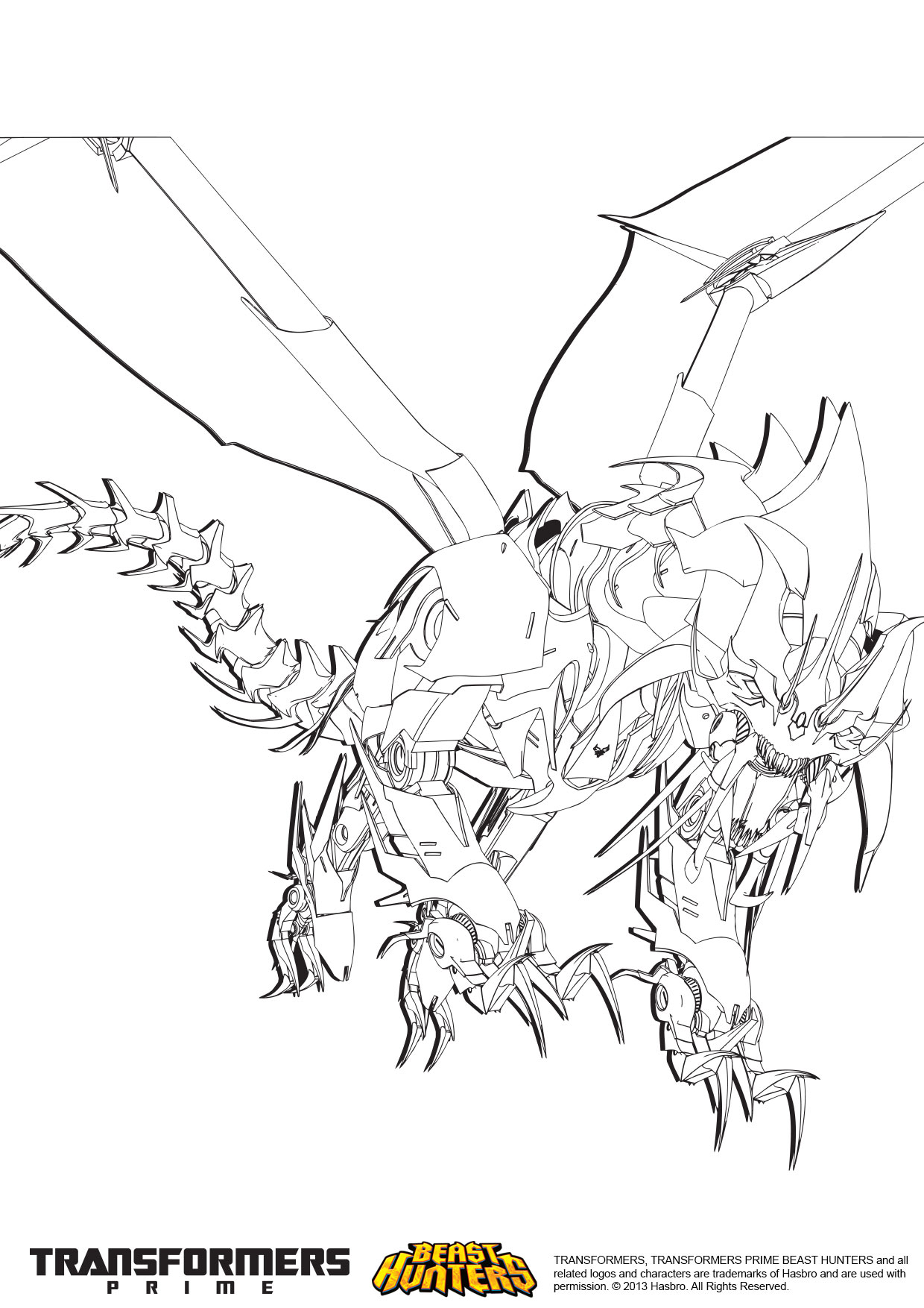 Free predaking coloring pages for Transformers prime beast hunters coloring pages