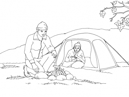 Coloriage Camping 9