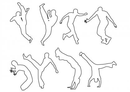 Coloriage Coupe du monde : Mouvements de Capoeira