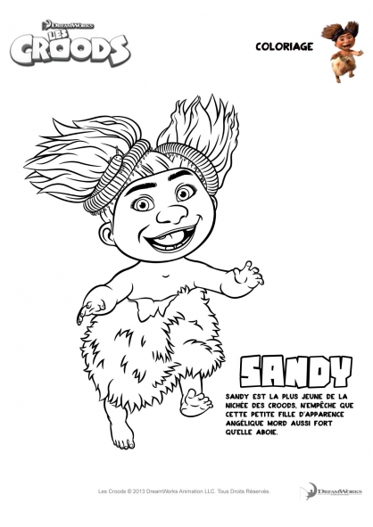 Coloriage Les Croods : Sandy