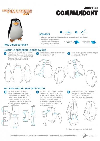 Coloriage Les Pingouins de Madagascar : Jouet 3D (1)