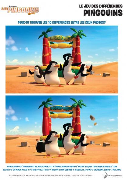 Coloriage Les Pingouins de Madagascar : Le jeu des différences (1)
