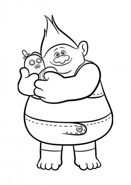Coloriage Les Trolls : Biggie et Monsieur Dinkles