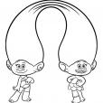 Coloriage Les Trolls : Les jumelles Satin et Chenille