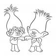 Coloriage Les Trolls :  Poppy et Branche, les opposés !