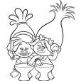 Coloriage Les Trolls : Poppy et DJ Suki