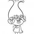 Coloriage Les Trolls : Poppy toujours souriante