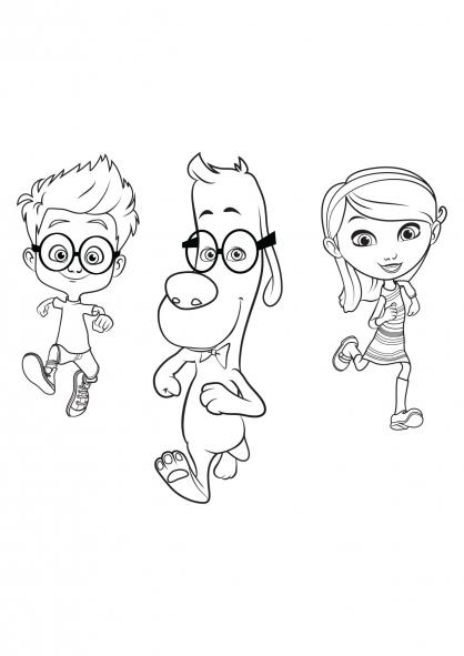 Coloriage MrPeabody&Sherman : Penny,  Sherman et Mr. Peabody