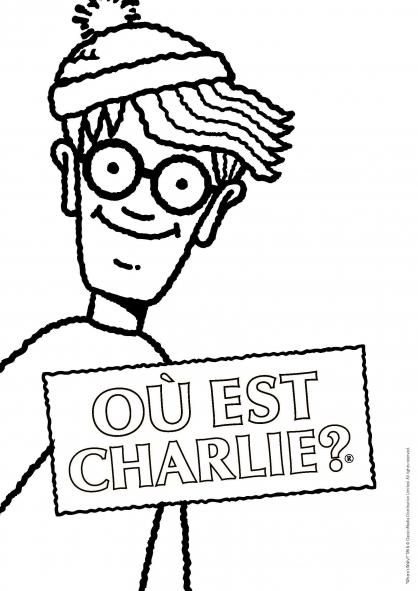 Coloriage Où est Charlie : Charlie et sa pancarte