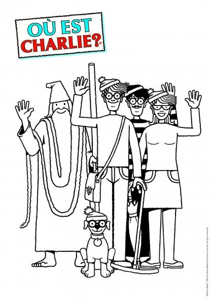 Coloriage Où est Charlie : Charlie et ses amis