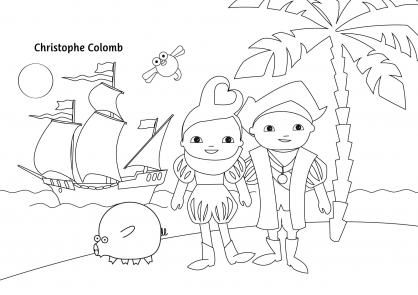 Coloriage Pop & Corn avec Christophe Colomb