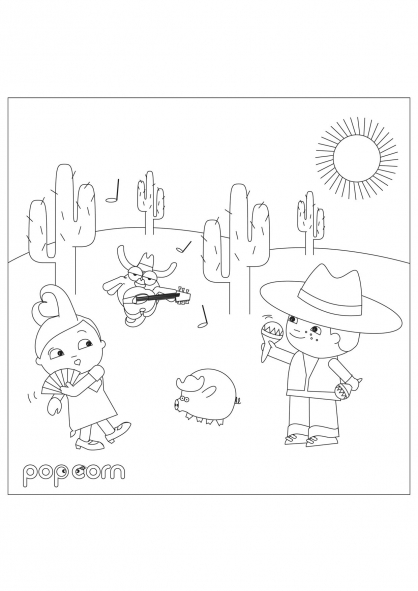 Coloriage Pop & Corn dans le désert