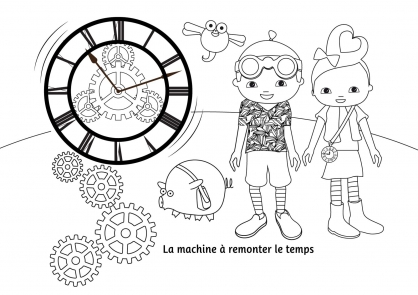 Coloriage Pop & Corn et la machine à remonter le temps