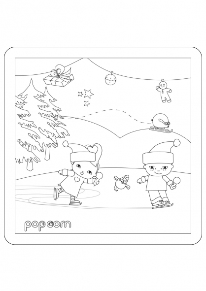 Coloriage Pop & Corn sur la glace