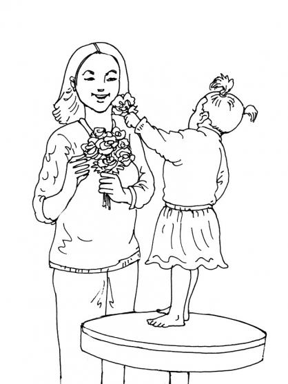 Coloriage Fête des mères 14