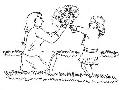 Coloriage Fête des mères 3