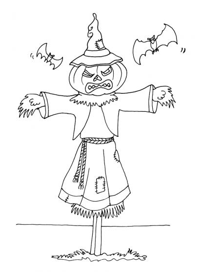 Coloriage Halloween : l'épouvantail