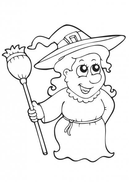 Coloriage Halloween : la sorcière 1