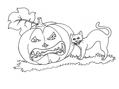 Coloriage Halloween : le chat noir