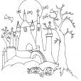 Coloriage Halloween: le château hanté