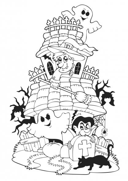 Coloriage halloween le manoir hant coloriage halloween coloriage f tes - Manoir dessin ...