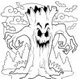 Coloriage Halloween : les arbres possédés