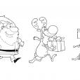 Coloriage Noël : en route pour la distribution des cadeaux