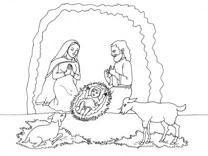 Coloriage Noël : la bergerie de Jésus