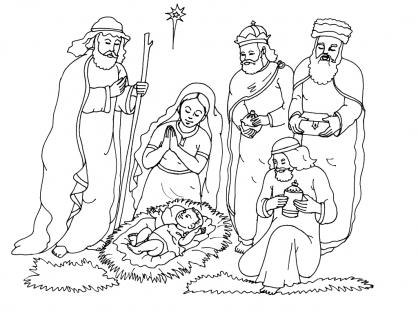 Coloriage Noël : la crèche de Noël