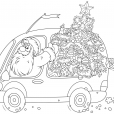 Coloriage Noël : la livraison du sapin de Noël
