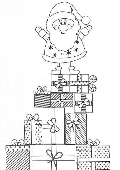 Coloriage Noël : la pyramide de cadeaux
