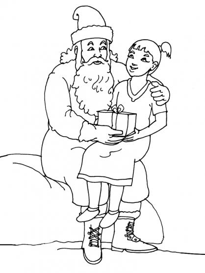 Coloriage Noël : la rencontre avec le Père Noël