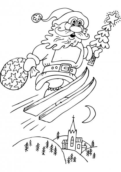 Coloriage Noël : le Père Noël à skis