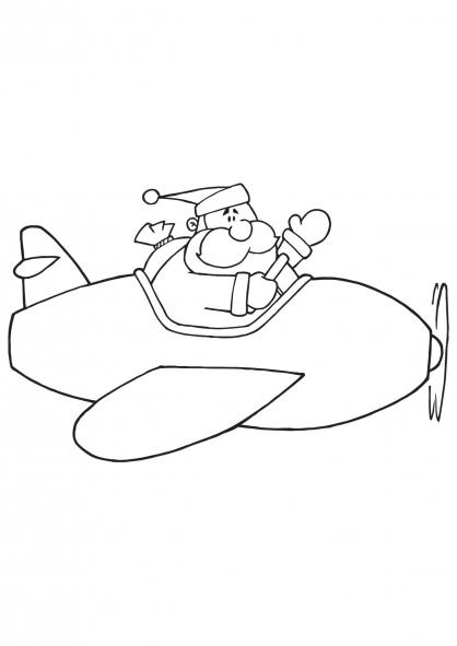 Coloriage Noël : le Père Noël en avion