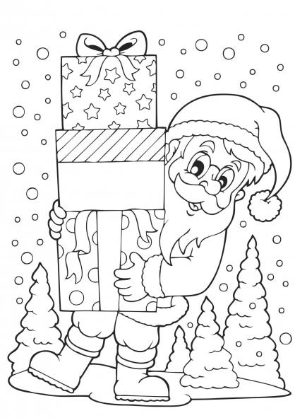Coloriage Noël : le Père Noël et les cadeaux
