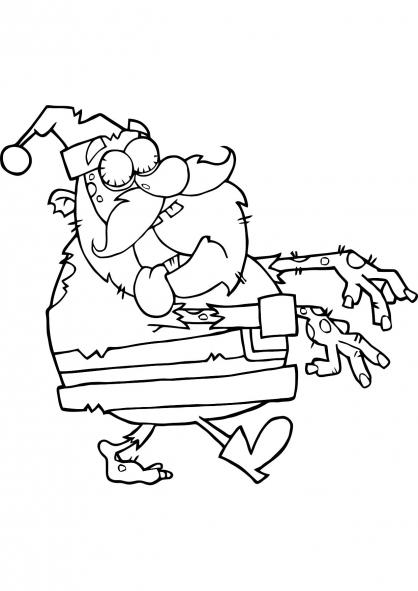Coloriage Noël : le Père Noël Zombie