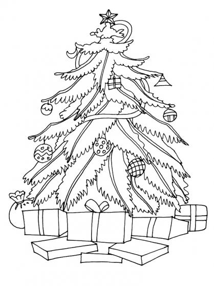 Coloriage Noël : le sapin de Noël