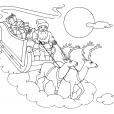 Coloriage Noël : le traîneau et les rennes