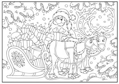 Coloriage Noël : le traîneau plein de cadeaux