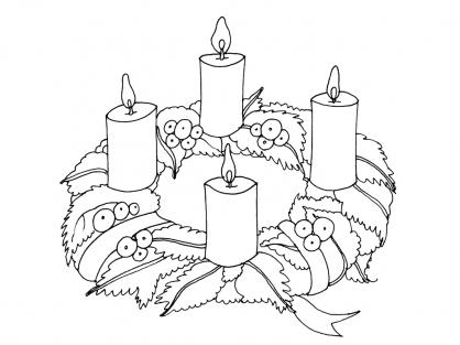 Coloriage Noël : les bougies de Noël