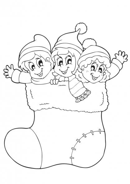 Coloriage Noël : les lutins du Père Noël