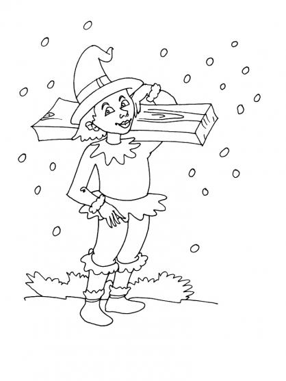 Coloriage Noël : un des lutins du Père Nöel