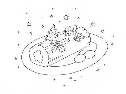 Coloriage Noël : une bûche de Noël