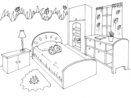 coloriage chambre 11 coloriage chambre coloriage maison. Black Bedroom Furniture Sets. Home Design Ideas