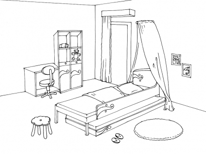 coloriage chambre 13 coloriage chambre coloriage maison. Black Bedroom Furniture Sets. Home Design Ideas