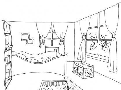 coloriage chambre 17 coloriage chambre coloriage maison. Black Bedroom Furniture Sets. Home Design Ideas
